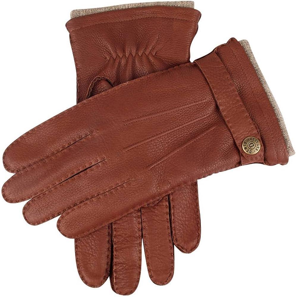 Dents Mens Gloucester Cashmere Lined Deerskin Leather Gloves Havana Brown