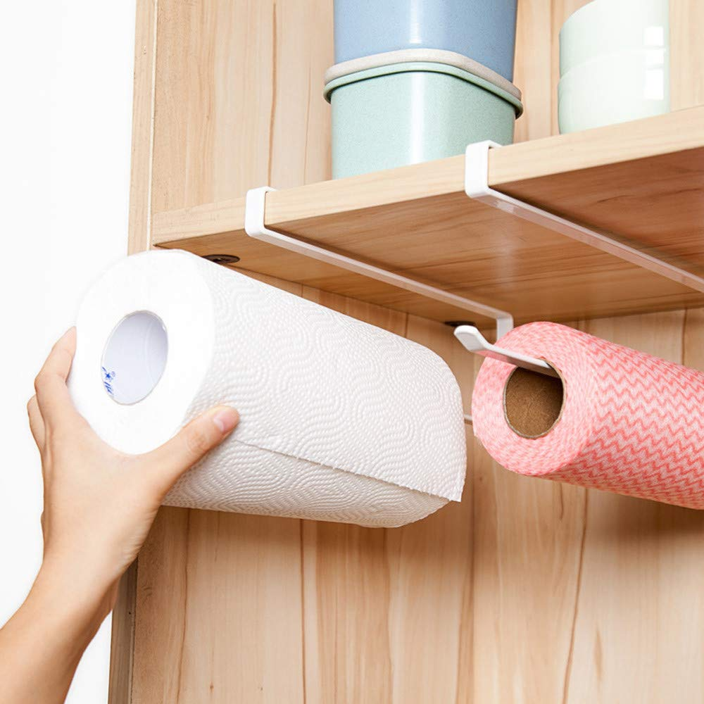LtrottedJ Under Cabinet Paper Towel Holder Roll Paper Towel Rack Stainless Metal Organizer