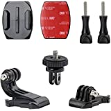 Woleyi Action Camera Accessories, Adhesived Curved & Flat Mounts with Buckle, 1/4 Screw Thread with Thumb Screw…