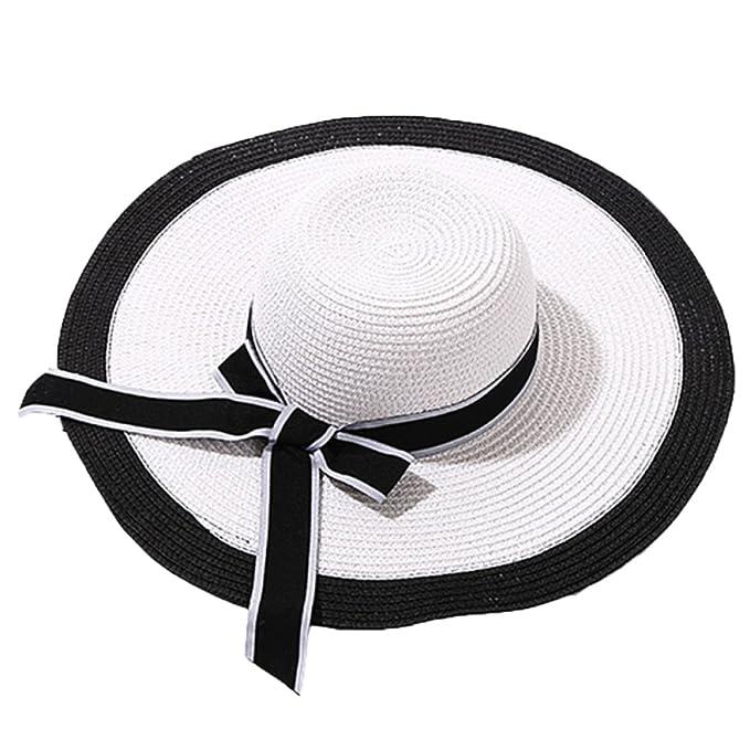 Cappello Da Sole Da Donna Cappello Da Spiaggia Estivo Pieghevole Con Tesa  Larga E Floscio 6514fef358a5