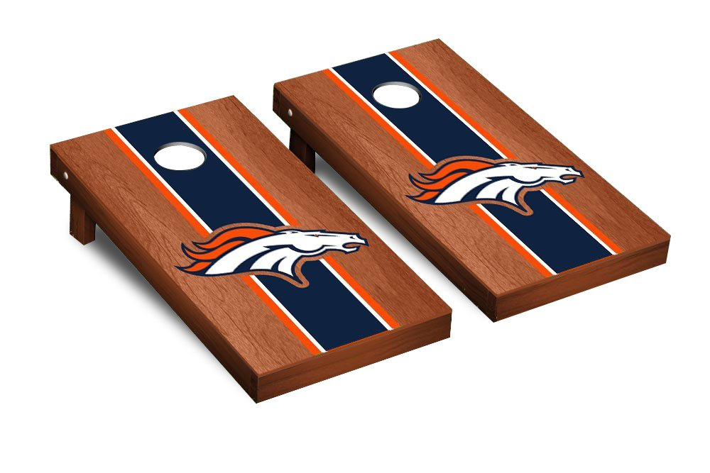 NFL Denver Broncos Rosewood Stained Stripe Version 2 Football Corn hole Game Set, One Size