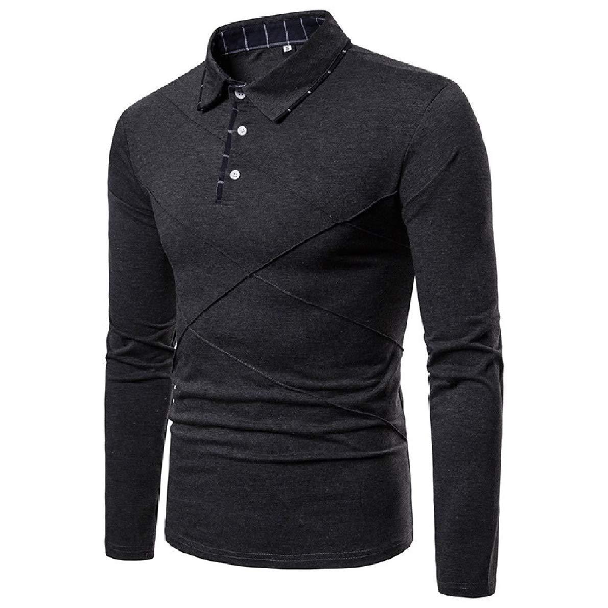 Winwinus Mens Pullover Long-Sleeve Lapel Collar Plus-Size Causal Polo Shirt
