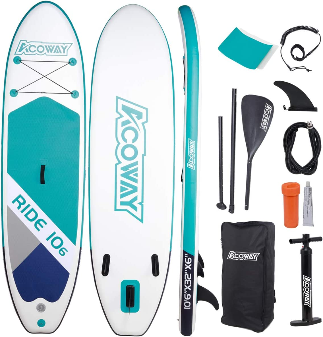 """Acoway Inflatable Stand Up Paddle Board,10'6"""" Long 33"""" Wide 6"""" Thick  SUP Paddleboard Accessories Backpack  Bottom Fin Paddling Surf Control, Non-Slip Deck   Youth & Adult Stand up Paddle Board"""