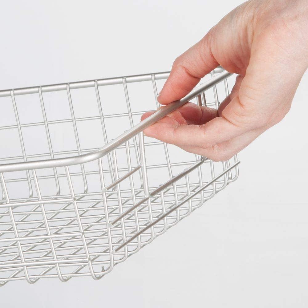 argento opaco mDesign Set da 2 Portautensili cucina Pratici cestini portaoggetti ideali come contenitori per dispensa