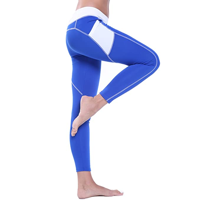 a2f3de0464eca High Waist Soft Waistband Hold Your Stamoch Warm Stretch Workout Leggings  Skinny side pockets color block