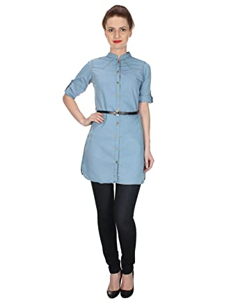 9cf0b4c0bb Trendy frog Women Long Sleeve Denim Tunic Kurti Top with Belt, Light Blue,  Small