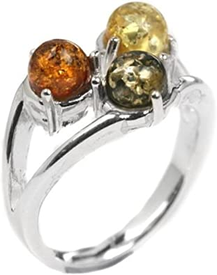 Multicolor Amber Sterling Silver Three-Stone Ring Ian and Valeri Co