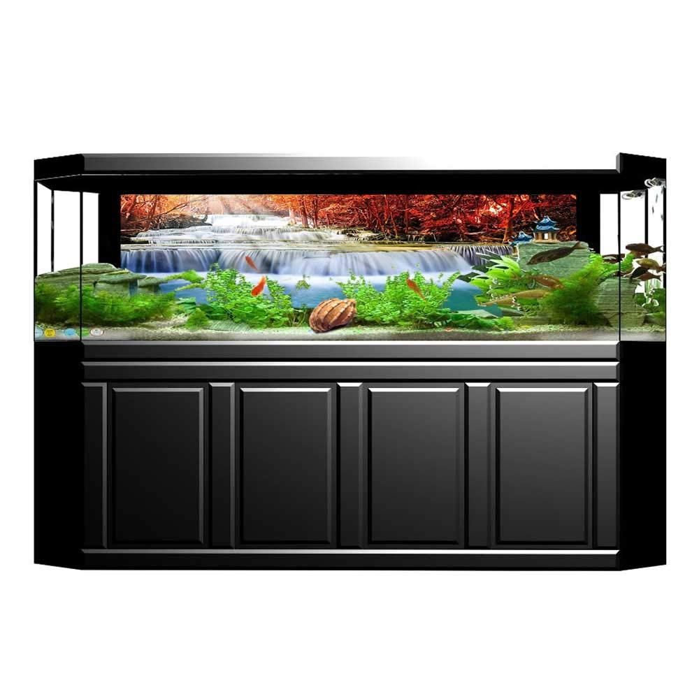 color07 L35.4\ color07 L35.4\ Jiahong Pan Fish Tank Decorations Waterfall Gradual Circled by Red s with Radiate of Sun bluee and Red HD Fish Tank Decorations Sticker L35.4 x H19.6