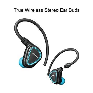 True Auriculares inalámbricos con micrófono escudo por Jabees, desmontable flex-wire oreja Auriculares de