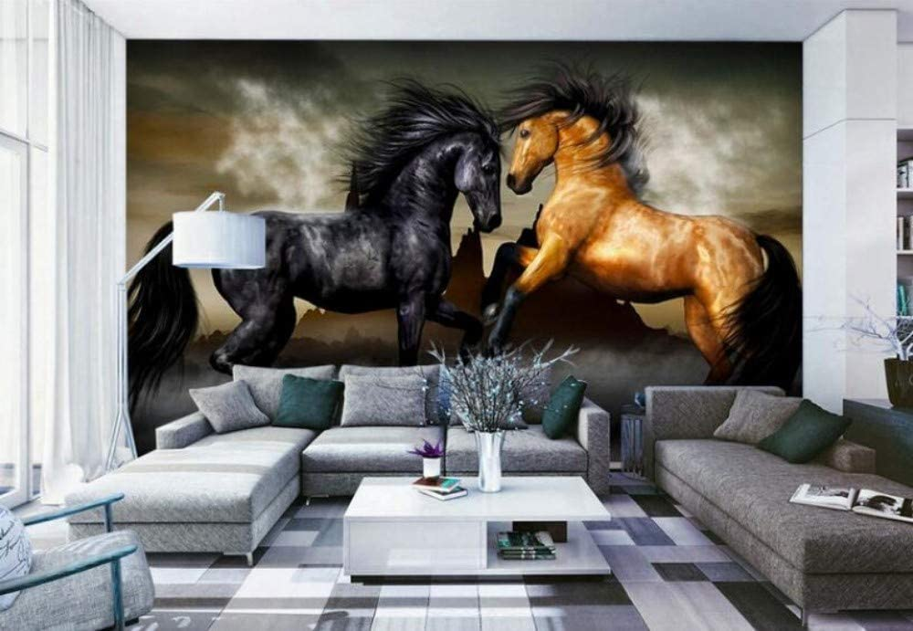 Adecuado para papel pintado de pared de fondo de caballos de alto nivel para interiores de alto grado europeo, 430 * 300 cm