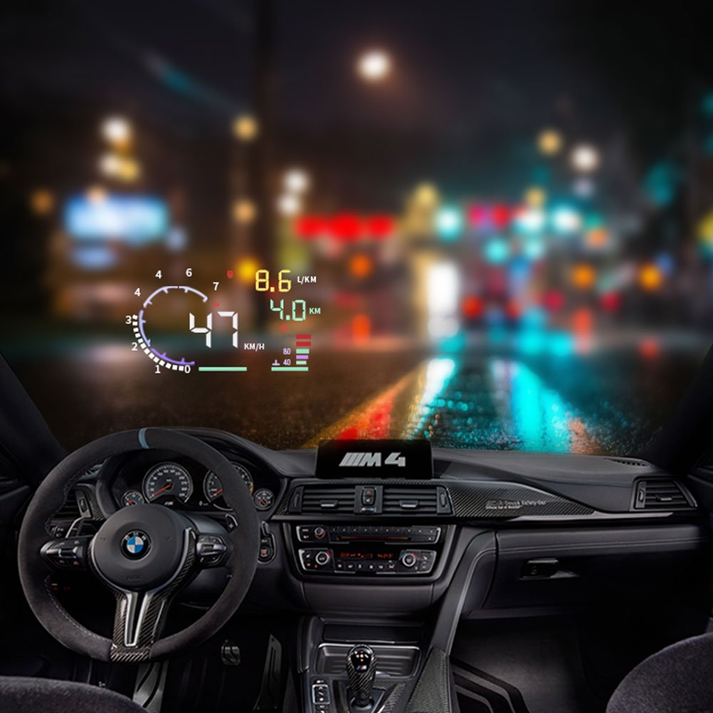 Trainshow A8 Head Up Display,5.5'' OBD II Car Windshield HUD with Speed Fatigue Warning RPM MPH Fuel Consumption Multiple-Color Bright Speeding Warning by Trainshow Online (Image #2)