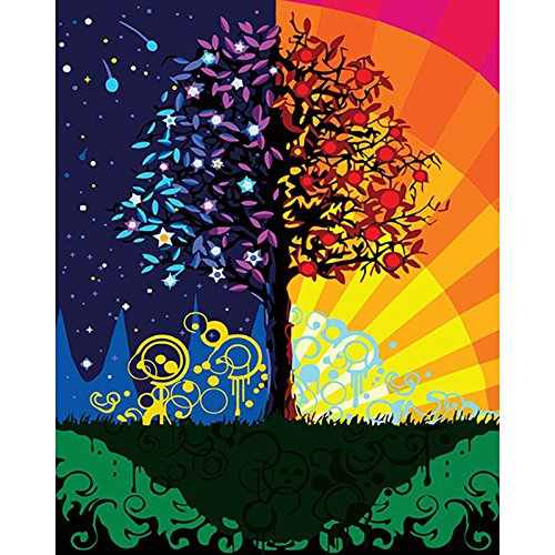 Tree of Life Paint by Numbers for Adult Beginners Children Adult DIY Digital Painting Kits Full Acessories 16 by 20 (16X20-Tree of Life Day and Night)