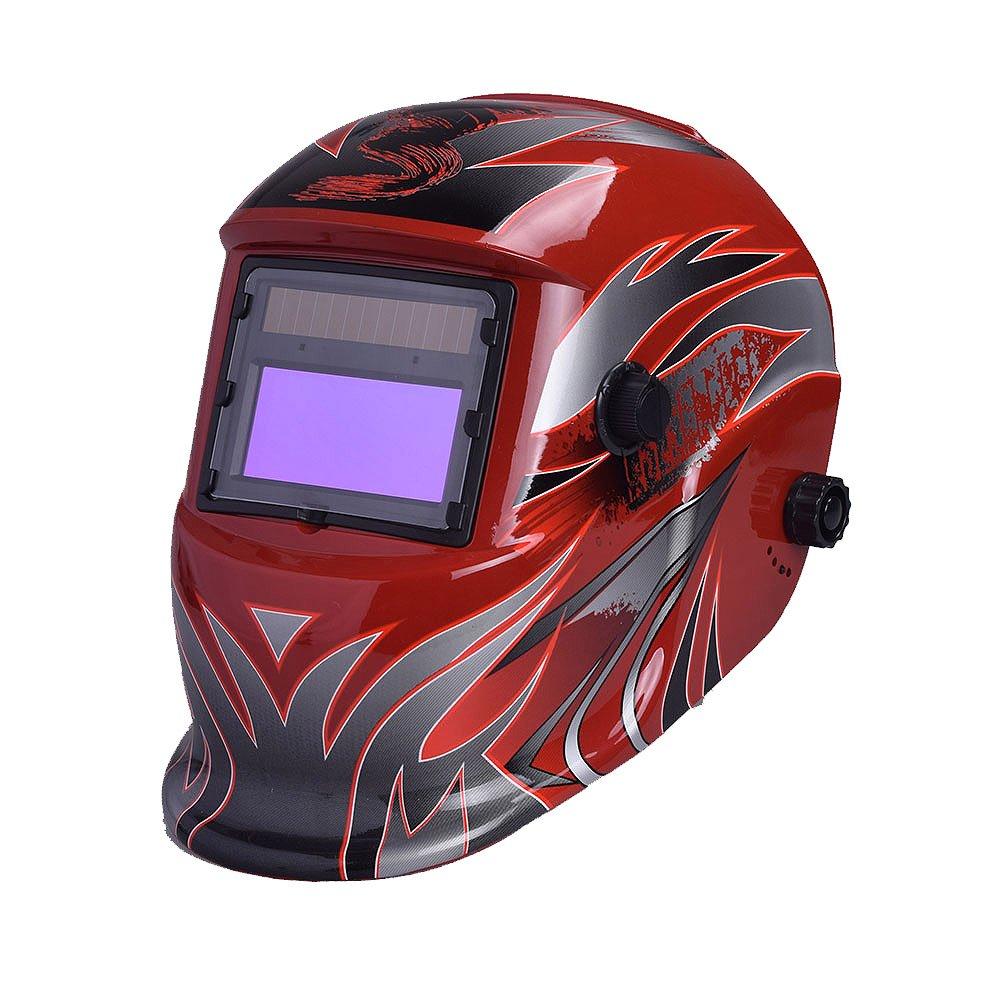 Nuzamas Fonctionne à l'énergie solaire Auto Assombrissement soudeur Masque de soudure Hot Rouge protection du visage pour arc TIG MIG broyage Plasma de coupe avec un Abat-jour réglable Gamme DIN4/9–13protection UV/IV Din16
