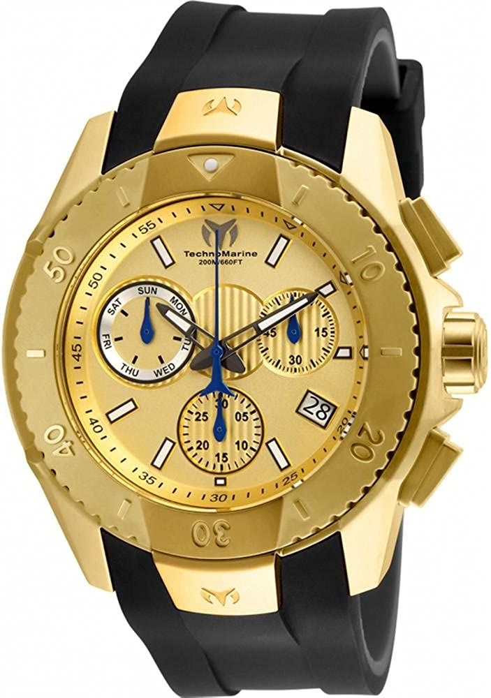 Technomarine UF6 Swiss Chronograph 48mm Gold Stainless Steel Men's Watch TM-617001