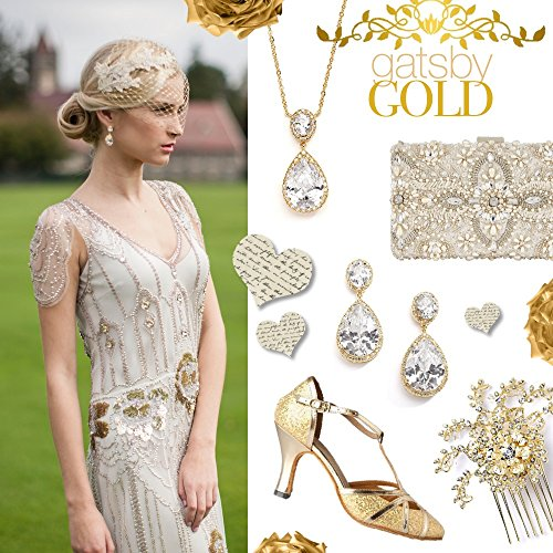 Gold Pear Necklace (Mariell 14K Gold Plated Couture Cubic Zirconia Pear-Shaped Bridal Necklace. Our #1 Pendant Necklace!)