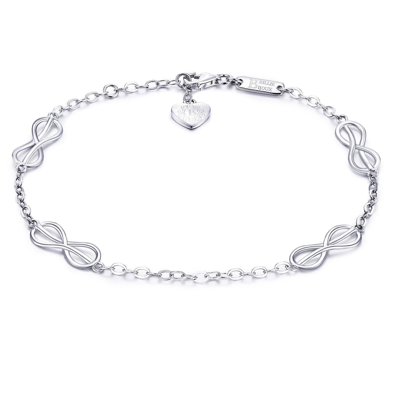 925 Sterling Silver Infinity Love Bracelet – Billie Bijoux Women Endless Love Symbol Adjustable Bracelet White Gold Plated Gift for Valentine's Day