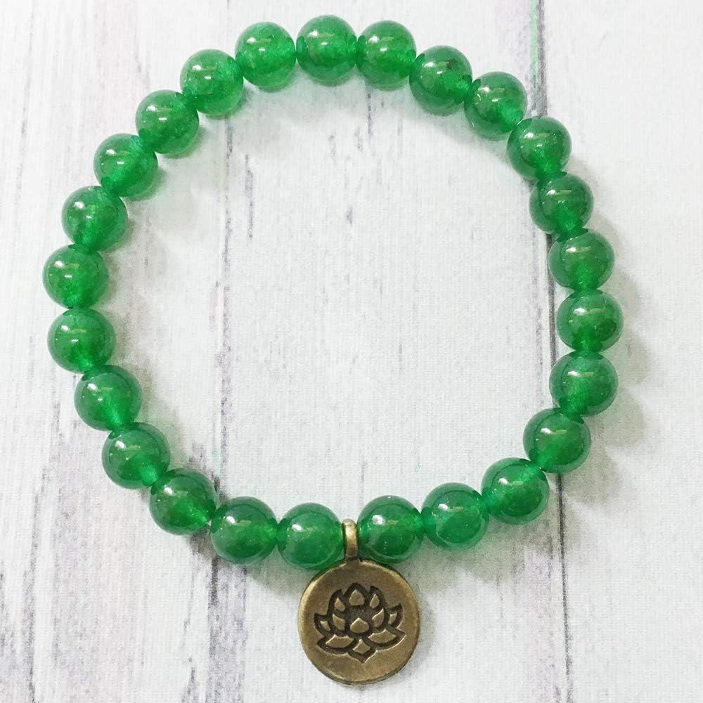 Trendy Handmade Beaded Bracelet Dark Green Aventurine Bead Jewelry Antique Brass Lotus Charm Gift Manlouz Handmade Beads