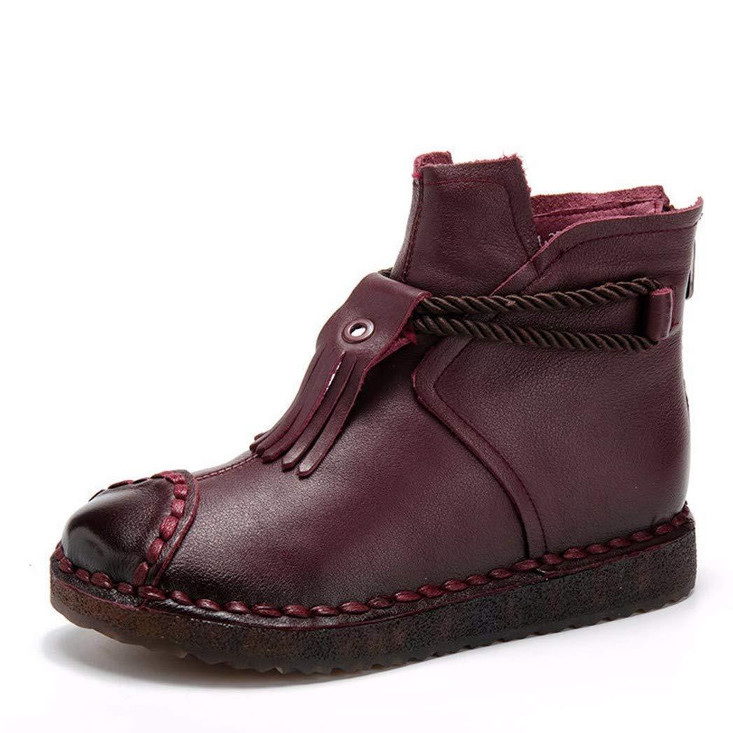 BeatinToes Retro Schuhe Leder Handarbeit Short Martin Stiefel Flachbild Unten Hinten Reißverschluss Wasserdicht Plattform Frauen Schuhe