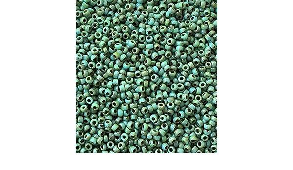 11//0 Japanese seed beads Picasso Miyuki Tr Sea Foam Picasso-15grams