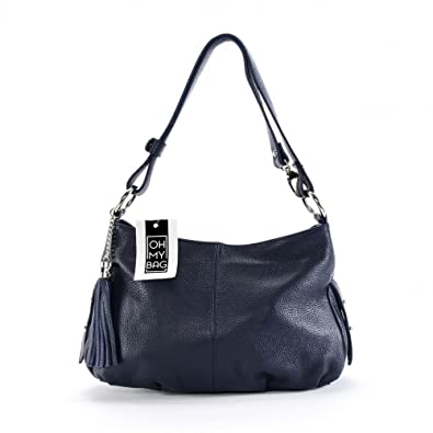 ef36101b2d OH MY BAG Sac à main en cuir avec pompon Lobe bleu fonce: Amazon.fr ...