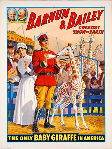 A SLICE IN TIME 1916 Ringling Brothers Barnum & Bailey Greatest Show On Earth: The Only Baby Giraffe in America Vintage Circus Travel Advertisement Art Poster Print Poster measures 10 x 13.5 inches.