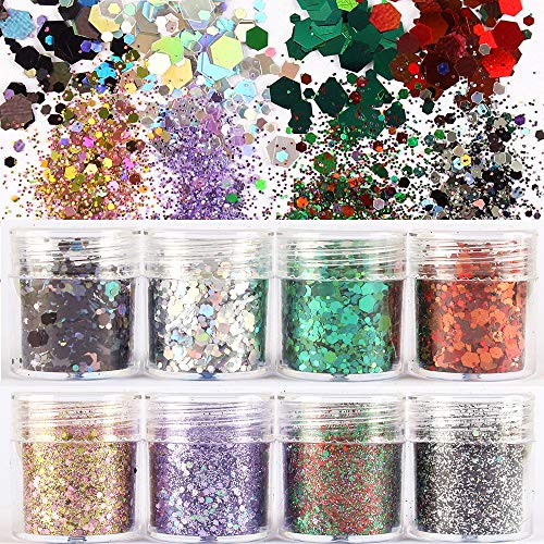 8 Boxes Colorful Nail Shining light Dazzling Hexagon Sequins Ultra-thin Nail Glitter Sequins Iridescent Flakes Sparkles for Face Body Hair Nail (Color2)