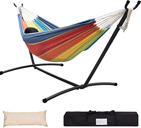 Lazy Daze Hammocks Double Hammock With Built-in Pocket And 9FT Space Saving Steel Stand