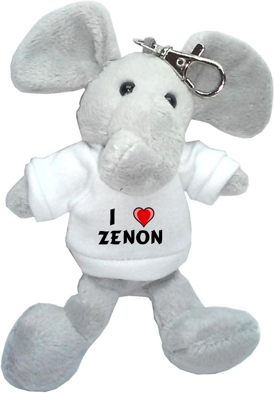 Elefante de peluche (llavero) con Amo Zenon en la camiseta (nombre ...