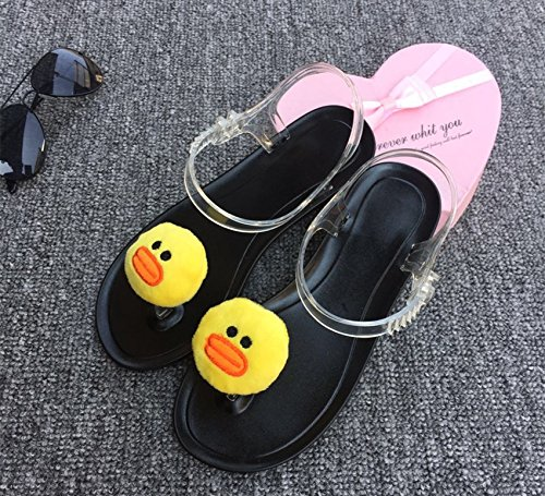 The Clip bottom Personality Beach Summer Lovely Lin Ladies Toe of Wind Sandals Student Jelly Harajuku Lemon duckling Flat Sandals the Fruit Shoes Xing black Female xw17H4wq