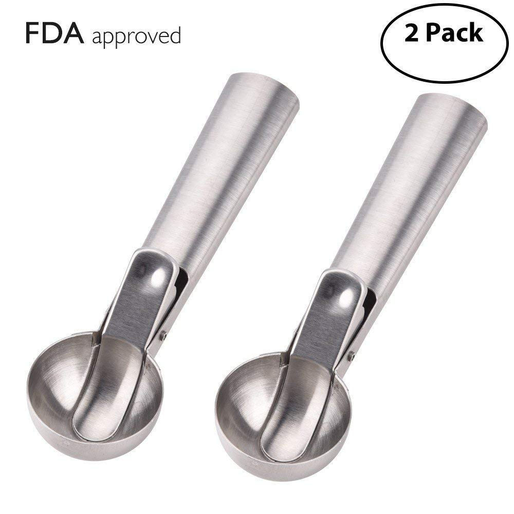 BASEIN 2 Pack Solid Stainless Steel Ice Cream Scoop with Wide Handle Easy Release Trigger Ice Cream Dipper Melon Baller Cookie Scoop, FDA Approved