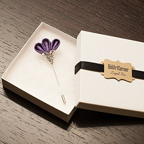 (Purple Freesia on Silver Plated Lapel Stick Pin)