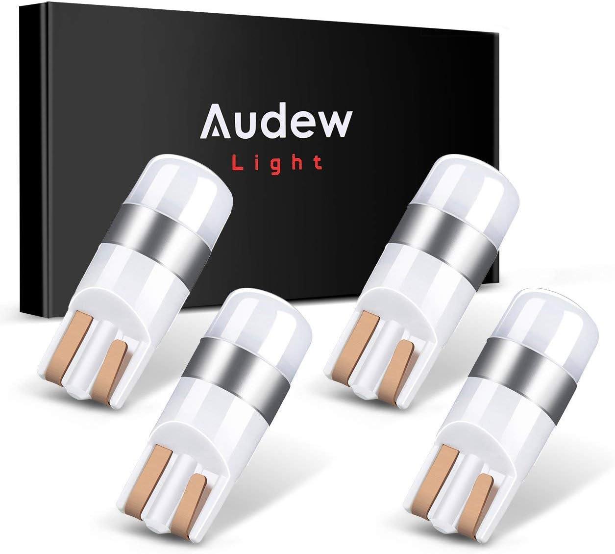 Audew 4 x W5W T10 Canbus LED Bombillas Coche SMD3030 6000K IP65 para Luces de Interior y Exterior Xenón Blanco