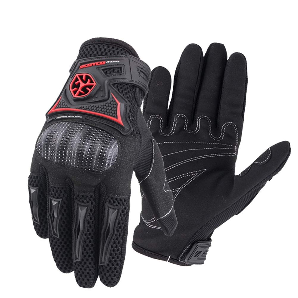 AINIYF Tactical Gloves | Motorcycle Shell Full Finger Motorcycle Gloves Cycling Anti-Wheel Motorcycle Spring Breathable (Color : Black, Size : L)