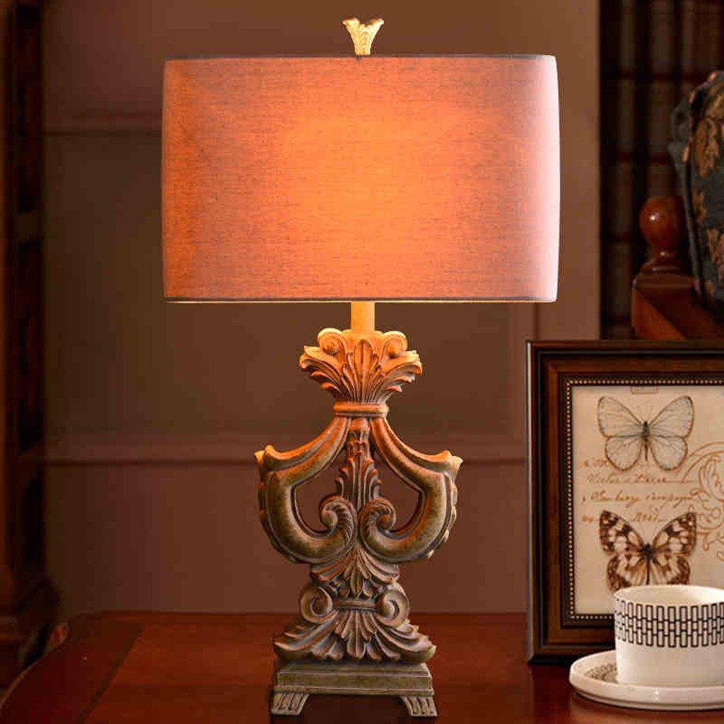 ZXW Europäische Warm Tischlampe Wohnzimmer amerikanische Schlafzimmer Nacht Studie kreative Lampe Harz-Material Relief-Prozess Button Switch E27 Lichtquelle