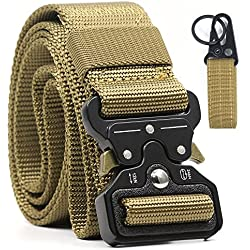 Men's Battle Belt Combat Equipment Belt Army Training Carry Waistbelt Tactical Nylon, Brown Police Heavy-Duty Waistband Emergency Survival Firefighter Belts Military Utility CCW Gear MOLLE Belt