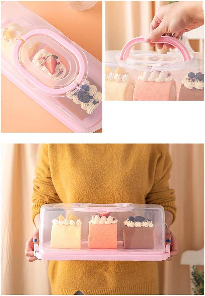 caja de pl/ástico redonda para tartas con asa fiestas caja de almacenamiento para cumplea/ños frutas etc. Caja de almacenamiento para tartas de cumplea/ños postres postres bodas