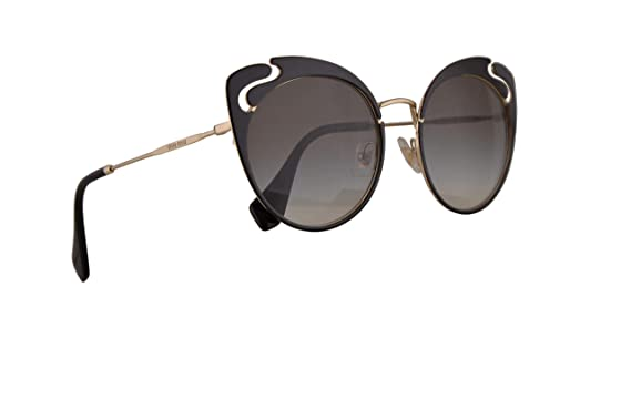 fef47d36f Image Unavailable. Image not available for. Color: Miu Miu MU57TS Sunglasses  Pale Gold Black w/Grey Gradient 54mm Lens ...