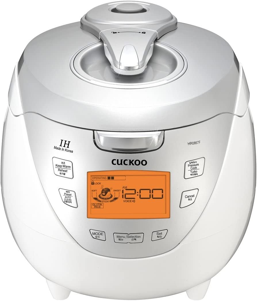 Cuckoo CRP-HR0867F 8 cup Induction Heating Pressure Rice Cooker – 18 built-in programs including Glutinous (White), GABA, Mixed/Brown and more, Non-Stick Coating, Made in Korea, 110V, Silver