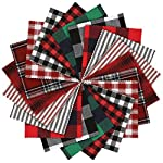 Caydo 20 Pieces Plaid Fabric Christmas Lodge Charm Pack, 5.9 inch 10 Prints Polyester Cotton Homespun Fabric Squares