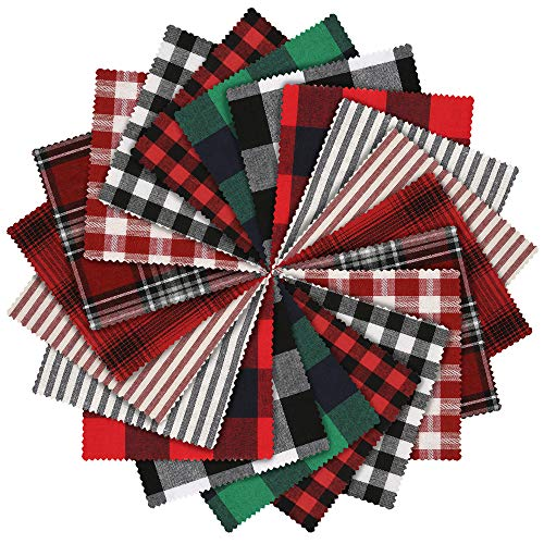 Caydo 20 Pieces Plaid Fabric Christmas Lodge Charm Pack, 5.9 inch 10 Prints Polyester CottonHomespun Fabric Squares