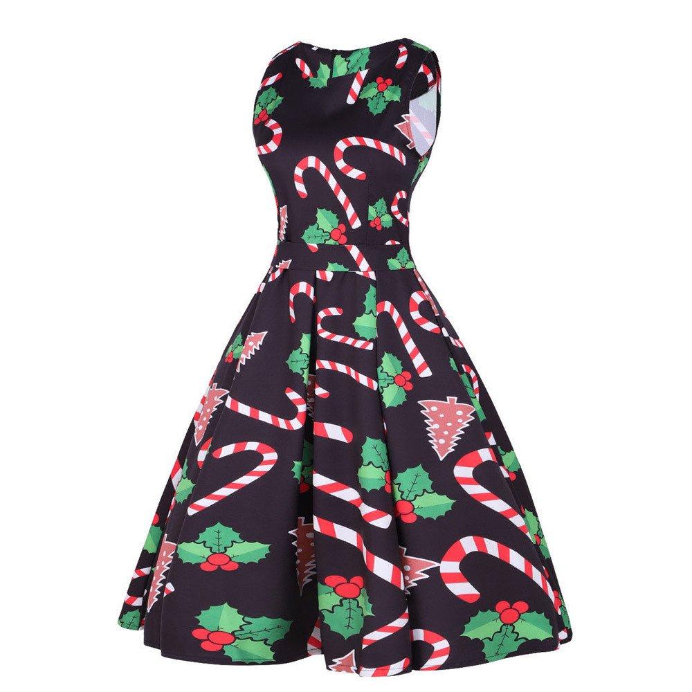 Cebbay Navidad Faldas Mujer Vestido sin Mangas con Estampado de Dulces de la Vendimia Faldas largas Vestido de Navidad Vestido de Noche Elegante Fiesta de ...