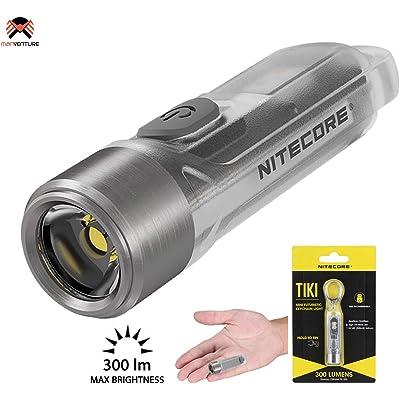 NITECORE TIKI Mini Llavero Linterna de Bolsillo 300 Lúmenes LED y Luz Ultravioleta Linterna Llavero Recargable USB Pequeña y Ultraligera ([ CLARO ])