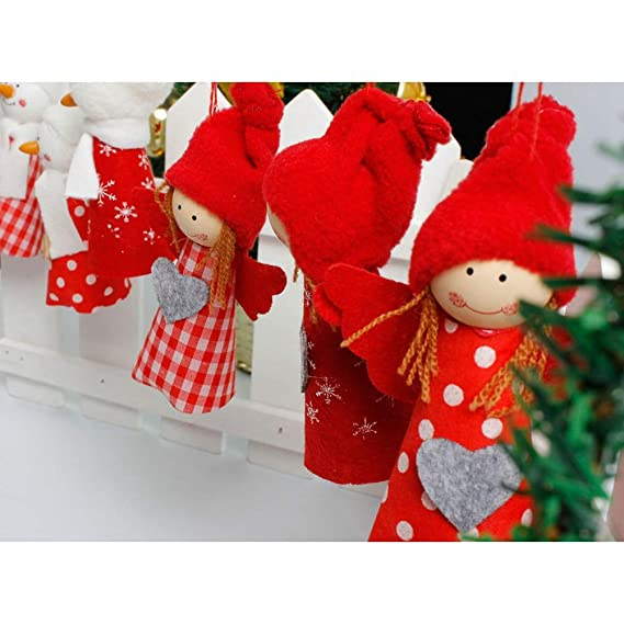 Welding Equipment 6pcs Xmas Cloth Dolls Hanging Angel Christmas Decorative Doll Pendants For Decorating Door Christmas Tree Window Fireplace