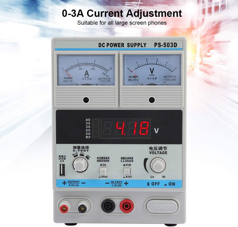 Zopsc Adjustable DC 5V 3A Repair Power Supply for Cellphone Smartphone Clear Phone Condition Repairing Power Supply