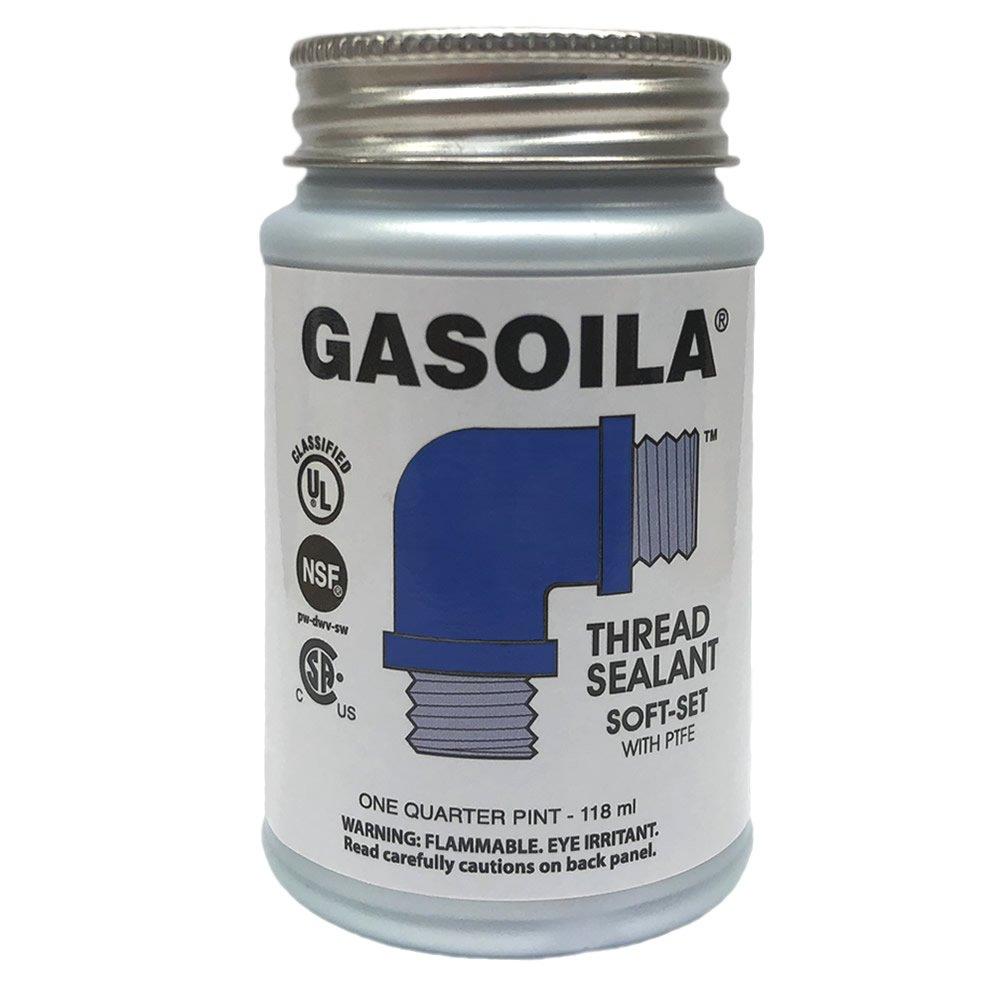 Gasoila Soft-Set Pipe Thread Sealant with PTFE Paste, Non Toxic, -100 to 600 Degree F, 1/4 Pint Brush