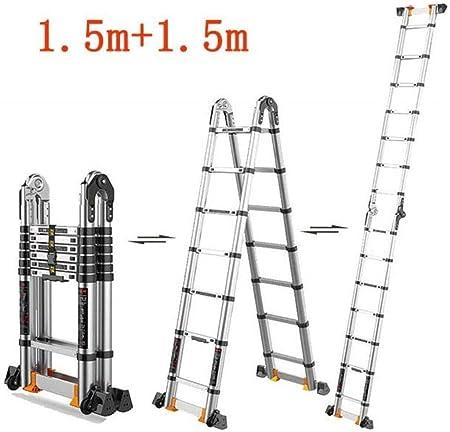 DY Escalera Plegable De Aluminio - Banda De Rodadura No Slip Hecho De Aluminio Ligero De Acero Resistente, Portátil con Base Antideslizante (Size : 2.65m+2.65m): Amazon.es: Hogar