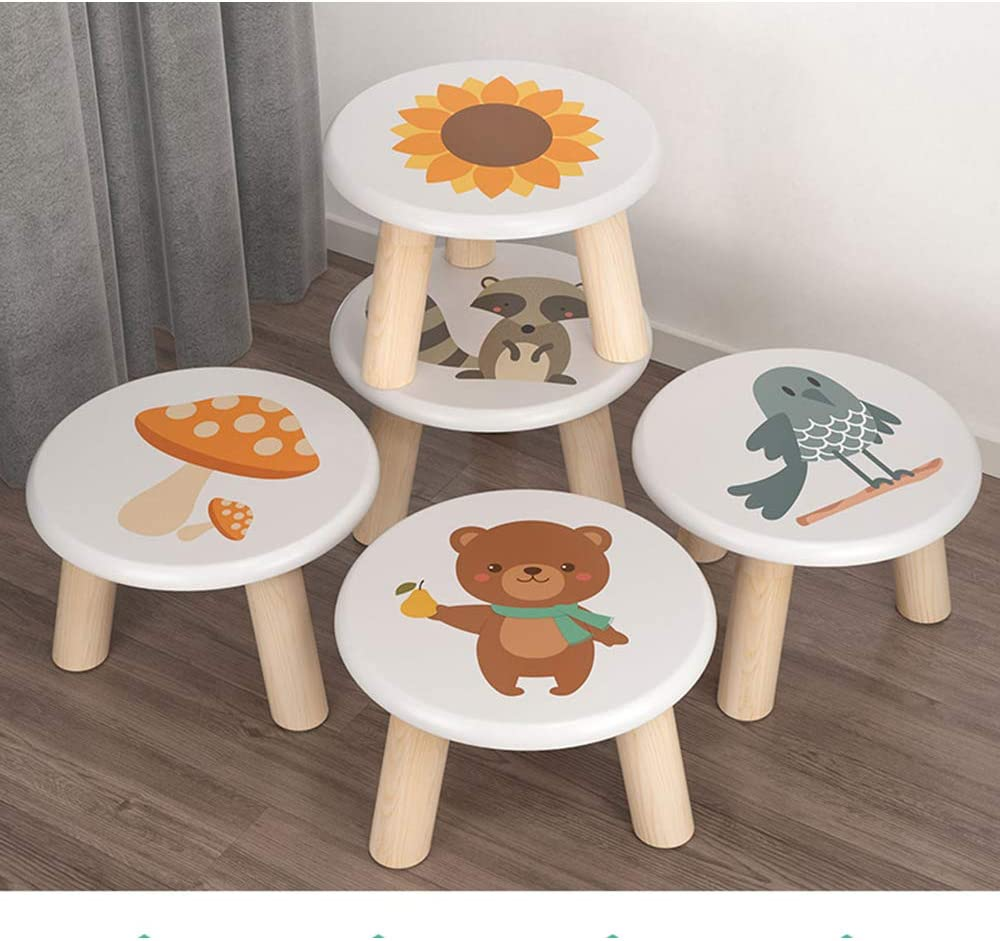 Omenluck 1 Pc Small Foot Stools Children Wooden Kitchen Seat or Kids Step Stool Chair