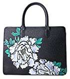 Pifuren Women's Luxury Genuine Leather Top Handle Handbag Satchel Floral Bag (H77009, Black/Lemon Yellow)
