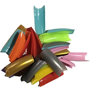 AORAEM 500 Pcs 12 Color French False Acrylic Gel Nail Art Tips Half with Box (Color: 12 Color)