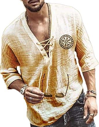 Camisas de canalé con Cordones y Cuello en V para Hombres ...